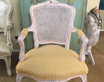 French Country Cane Back Chair ~ Carved Roses Pretty In Pink Chalk Paint