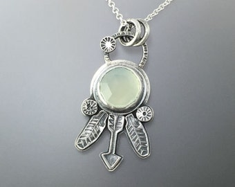 Dreamcatcher Handstamped Sterling Silver Pendant with a natural Green Chalcedony, One of a Kind, Ready to Ship