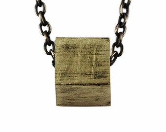 Geometric Cube Necklace Gold Rustic Antique Brass Chain Mens Jewelry