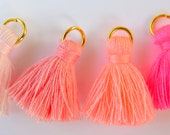 Small Cotton Jewelry Tassels with Matching Binding and Gold Plated Jump Ring, 4 Color Pink Sampler Mix - 4 pcs - Approx 25mm