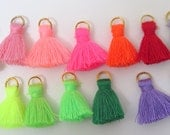Small Cotton Jewelry Tassels with Matching Binding and Gold Plated Jump Ring, 14PCS Sampler Pack - Approx 25mm