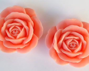 2PCS - 38mm Large Pink Rose Cabochons - Matte - Resin Cabochons - Jewelry Supplies by Zardenia - Ships from US