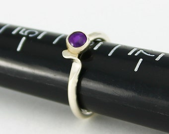 Size 6 Ring Handcrafted Sterling Silver and Amethyst Natural Stone Wave Style Stackable Contemporary Artisan Jewelry Design  088047343715