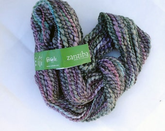 Colinette Zanziba Yarn, Colorway 77 Dusk, Muted Gray, Purple, Blue Wool and Viscose, Textured Thick and Thin Super Bulky, 90 yards