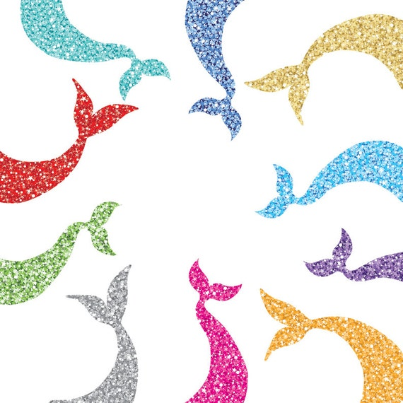 glam sparkly mermaid tail clip art two styles 10