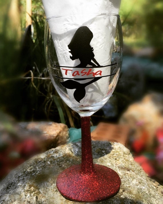 Personlized Mermaid Wine Glass