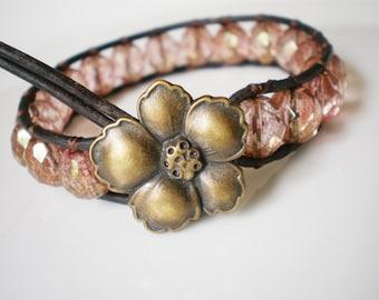 Czech Glass Bracelet Cuff Peachy Pink Faceted Beads