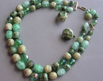 Vintage Necklace +  Earrings 2 Strands Unique Art Glass Beads Greens Signed Vogue