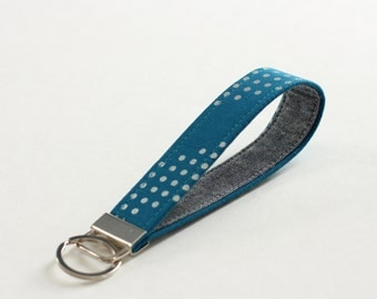 Teal and Silver Fabric Key Fob; Keychain in Teal and Silver Dot; Linen Wristlet Strap - PREORDER