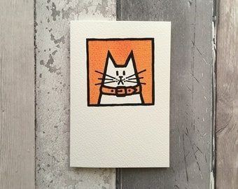 Orange Cat Notecard - greetings card - birthday card - hand printed card - screen printed blank card - thank you card - collectible cat card