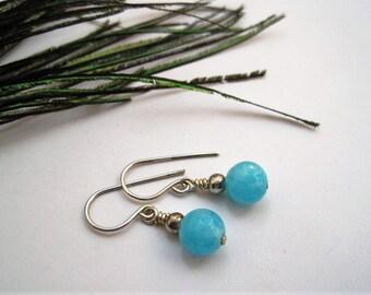 Azure Blue Chalcedony & Sterling Silver Drop Earrings