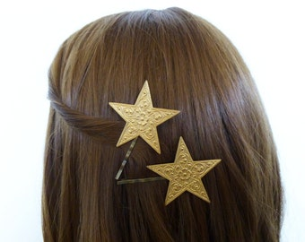 Bridal Bobby Pins Girls Hair Clips Gold Star Night Sky Constellation Astronomy Space Galaxy Wedding Accessories Unique Womens Gift For Her