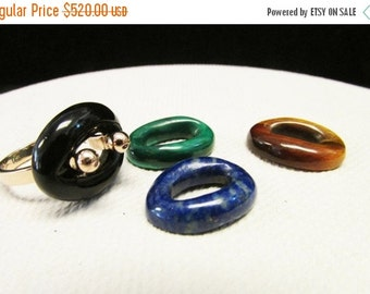 On Sale Vintage Estate 14K Modernist Interchangeable Onyx, Malachite, Lapis, Tiger Eye Stone