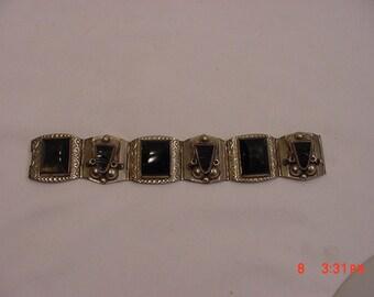 Vintage Taxco Mexico Sterling Silver & Black Onyx Bracelet  16 - 185