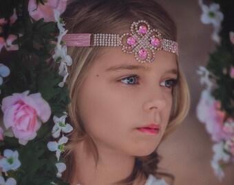 Pink rhinestone headband , girls headband , pink headband , rhinestone headband