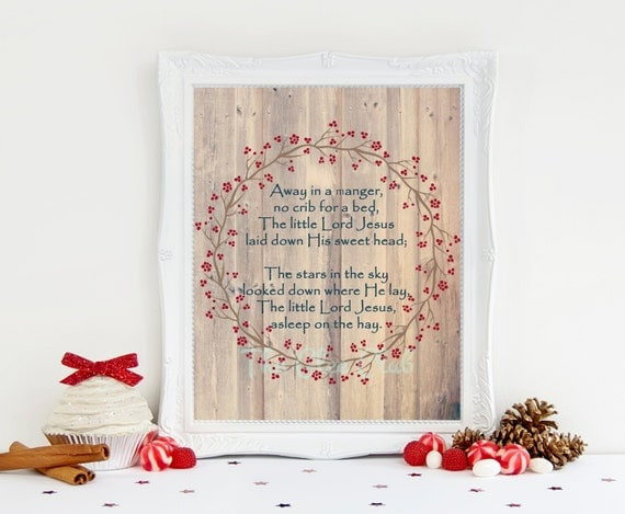 Christmas Print, Away in a manger Print, Holiday Digital Print, Instant Download, 8 x 10 Digital, Wreath, Wood Background, Christmas Sign
