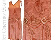 SALE 1920s Flapper Dress. Original Vintage Pink, Gold and White Beaded Dance Dress. Probably Made In France. Excellent Condition.