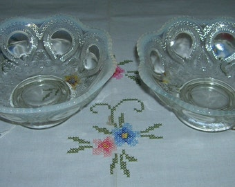 2 Antique Vintage White Opalescent Bowls By Northwood Scroll With Acanthus Pattern Circa 1903