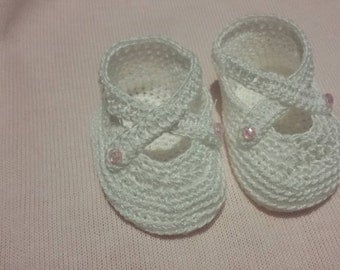 White crochet shoes for 14/15 inch baby