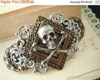 Gothic Skull barrette--antique ox brass--Neo Victorian--One of Kind