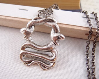 Twisted  large Vintage sterling silver plated  brass double snake necklace, Victorian, goth