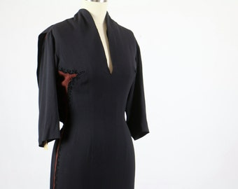 Vintage Howard Greer Dress / 1940s Dress / Designer Dress / Couture Dress / Black Brown Dress Wiggle Dress Evening Cocktail Deadstock