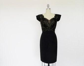 Vintage Dorothy O'Hara Dress / 1950s Dress / Nude Lace Illusion Dress / S