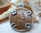 Sterling Silver 1944 Wheat Back Penny Good Luck Charm Pendant 4.52g