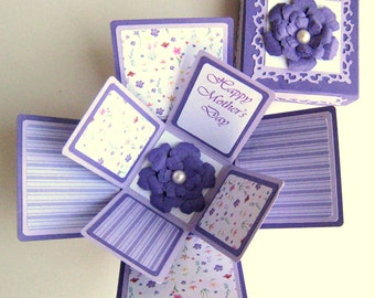 Exploding Box Purple Floral Mothers Day Card