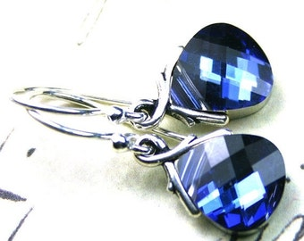 ON SALE Swarovski Briolette Crystal Earrings in MaliBlue - Handmade with Swarovski Crystal and Sterling Silver