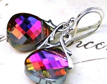 ON SALE Swarovski Briolette Crystal Earrings in Volcano- Rainbow - Handmade with Swarovski Crystal and Sterling Silver Earwires