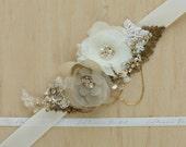 Gold Bridal sash wedding belt, Bridal dress sash, wedding dress sash belt, Rustic Shabby chic floral Champagne Ivory Nude OOAK