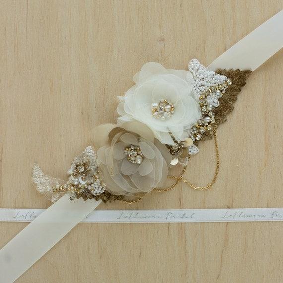 Wedding belt gold bridal sash bridal dress sash by leflowers for Gold belt for wedding dress
