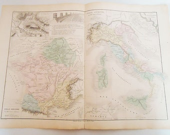 Fantastic Authentic 1881 Two in one French Maps.n17.Italie Ancianne