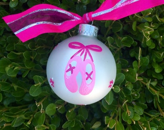 Ballet Dance Ornament - Ballet Shoes - Hand Painted Personalized Ornament, Christmas Ornament, Personalized Bauble, Ballerina Ornament