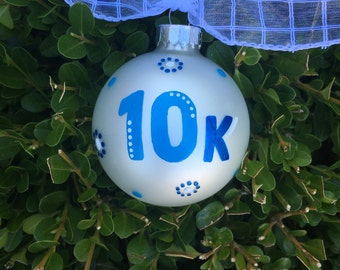 10K Ornament, Race Ornament, Hand Painted Running Bauble, Personalized Christmas Ornament, FREE Personalizing, Coach Gift,