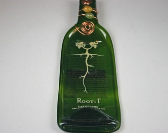 Melted Wine Bottle, Slumped Wine bottle,Flattened wine Bottle, Slumped,Root:1 Melted Wine Bottle Cheese Tray