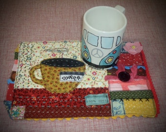 Gypsy Mini Quilted Mug Rug, coffee mug rug , large coaster, snack mat