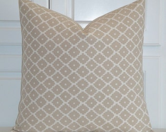 Schumacher - Ziggurat in SAND - Decorative Pillow Cover - Lattice - Toss Pillow - Cushion Cover - Chair Pillow