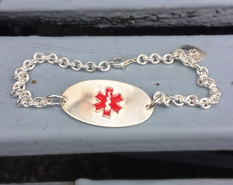 Thick Sterling Silver Medical Alert Bracelet - optional enamel colors - LOTS of room for info