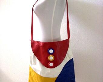 Vintage 80s Colorblock Leather Purse - Large Leather Shoulder Bag - Red White Yellow Blue Shoulder Purse - 15 x 16 Large Hobo Messenger Bag