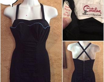 Vintage 50s Catalina scalloped Dress Swimsuit pinup romper Black designer bathing suit 1950s costume