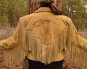 Vintage Buckskin Patricia Wolf Fringe Jacket with Antler Buttons, Handpainted Horse and Native Sun Mandala, Horsehair Detail