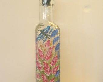 Hand Painted Wild Flowers Pour Oil Vinegar Soap Bottle Bumblebees Dragonflies Purple Pink  Blue Red Yellow White Green