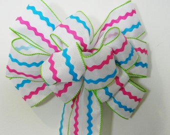 Easter Basket/wreath Decorative Bow Birthday bow white burlap Pink and blue rickrack
