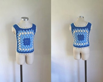 vintage 1970s child's sweater vest - BRISK AIR blue crochet top / 7-8yr