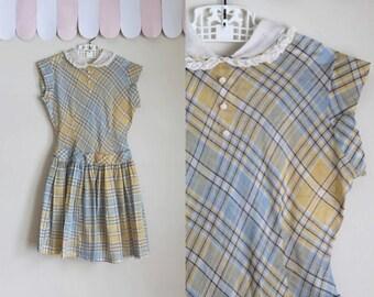 vintage 1940s girl's dress - RISE & SHINE pastel plaid dress / 6yr