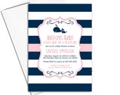 Navy and pink nautical baby shower invitation girl | printable or printed - WLP00797