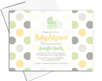 gender neutral baby shower invites | green, yellow, gray baby shower invitation stroller | printable or printed - WLP00708