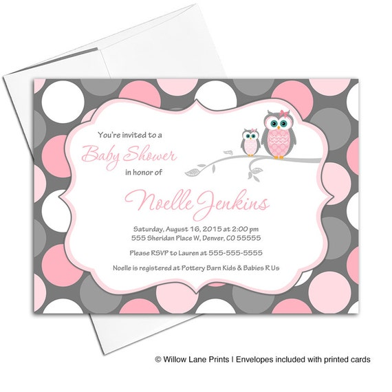 pink and gray baby shower invitation with owls baby girl shower